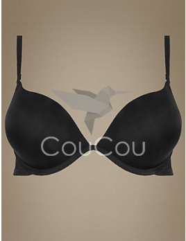Marks and Spencer čierna podprsenka - 2 Cup Sizes Bigger Smoothing Underwired Plunge Push-Up T-Shirt Bra A-D