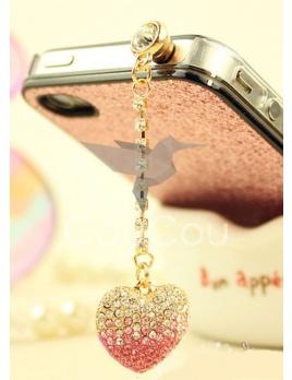 Kryštálove srdce - protiprachový šperk na telefón, tablet a iné do jacku